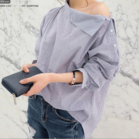 New Women Shirts Batwing Full Sleeve Striped Loose Oblique Collar Blouse Shirt Sexy Blue And White Striped Button Tops