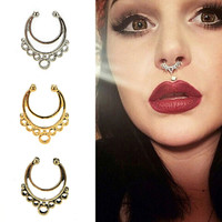 1Piece Fake Nose Rings Faux Piercing Nose Studs Nose Hoop Ring Body Jewelry