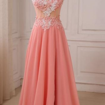 V-neck Applique Chiffon Evening Dresses A-line Beaded Sequins Sexy Slit Prom Gowns Open Back