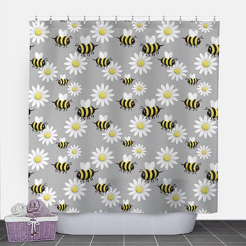 Happy Bee Daisy Shower Curtain - Cute Yellow Happy Bee and White Daisy Pattern over Gray - 71x74 - PVC liner optional - Made to Order