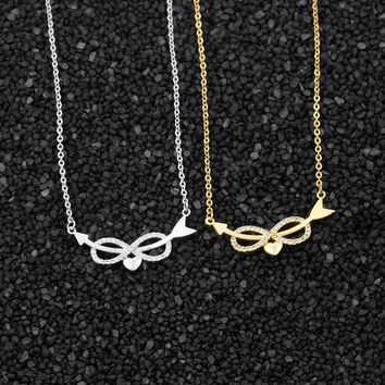 10pcs Crystal CZ Infinity Love Heart Necklace With Hunger Game Sideway Arrow Pendant Necklaces For Women Wedding Jewelry