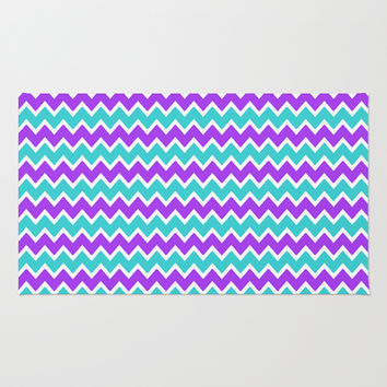 Teal and Purple Chevron Area & Throw Rug by decampstudios