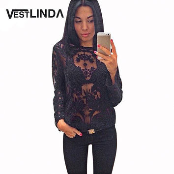 VESTLINDA Spring Autumn Lace Blouse Shirts Casual Round Collar Long Sleeve White Sexy See-Through Black Lace Blouses Women Tops