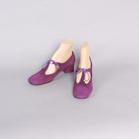 Vintage 60s SHOES / 1960s PURPLE Suede Lace-Up Mod Mary Jane Heels 7 1/2 New Unworn Old Stock