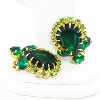 Emerald Green Rhinestone Earrings, Light Green Accents, Clip ons with Prong Set Rhinestones Mid Century Vintage 1950s 1960s