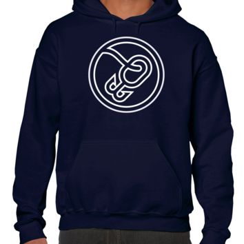 White Fish Hook on Blue Hoodie or Shirt