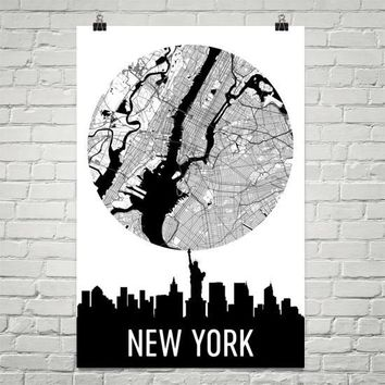 New York Skyline Silhouette Art Prints