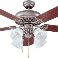0-001435>Manor 4-Light Ceiling Fan Antique Nickel