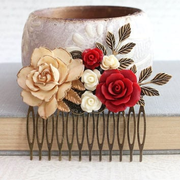 Bridal Hair Comb Winter Wedding Romantic Deep Red Flower Comb Cream Ivory Rose Brass Leaf Leaves Bridesmaids Gifts Floral Hair Accessories