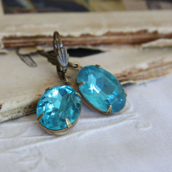 Large Vintage Blue Glass Jewel Earrings. Estate Style Earrings. Old Hollywood .