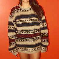 80s Tribal Oversized Vintage Sweater