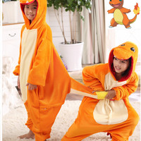 Pokemon Charmander Cosplay Jumpsuit Costume For Children Kids Onesuit Clothing For Halloween Carnival