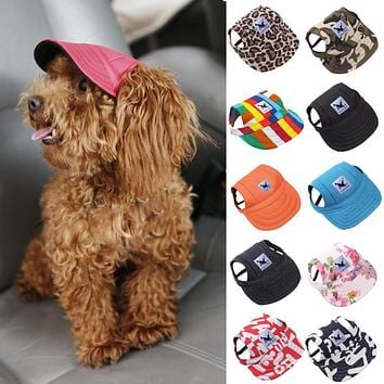 TAILUP Pet Dog Cap Small Pet Summer Canvas Cap Dog Baseball Visor Hat Puppy Outdoor Sunbonnet Cap 2JU30