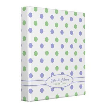 Personalized Purple & Green Polka Dot Binder 2 from Zazzle.com