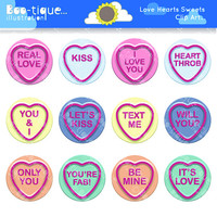 Love Hearts Sweets Digital Clipart for Instant Download. Valentines Clipart. Love Hearts Vector Illustration. Valentines Day Clip Art.