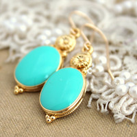 Tiffany blue Turquoise earrings 14 k gold field earrings with blue Turquoise Enamel
