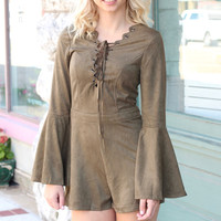 Long Sleeve Lace Up Suede Romper {Olive}