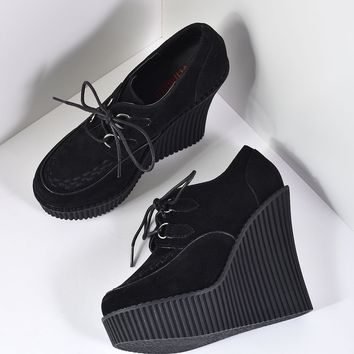 Black Suede Platform Wedge Lace Up Creeper