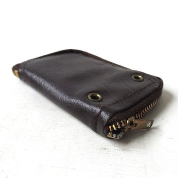 vintage 1960's brown leather zippered key holder wallet mid century modern retro fashion accessories accessory small 12 key hooks mens women