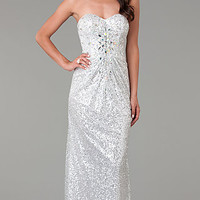Temptation Long Strapless Sequin Prom Gown