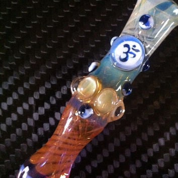 Glass pipe chillum fumed one hitter.  OM Millie with blue and white highlights. Color changing. Flat mouth piece.
