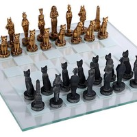 Egyptian Pharaoh and Gods Ancient Egypt Chess Set 3.75H
