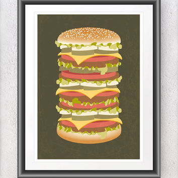 Kitchen poster print, American food art, Big hamburger home decor, Fast food kitchen art, Mid century modern