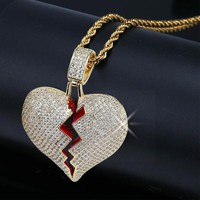 Yellow Gold Color Iced Out Broken Heart Pendant Necklace