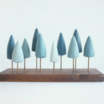 Miniature freestanding pine forest in shades of blue and teal - small evergreen tabletop forest -