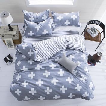 Grey striped twin Duvet Cover Sets bedding sets, reactive printed fashional child bedding set