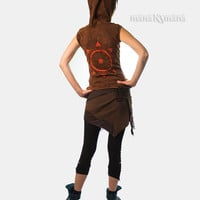 Sun Pixie Sleeveless Cut out Hoodie - Psy Jacket - Tribal - Elf - Pixie Hood - Women - Vest
