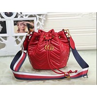 """Gucci"" Personality Fashion Multicolor Stripe Wide Webbing Single Shoulder Messenger Bag Women Drawstring Bucket Bag"