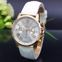 NEW Geneva Watch women Fashion Quartz Watches Leather Young Sports Women gold watch Casual Dress Wristwatches relogios feminino