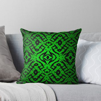 'Green tribal shapes pattern' Throw Pillow by steveball