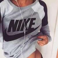 Fashion Spell color Letter Print Round Neck Top Pullover Sweater Sweatshirt