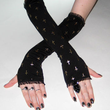 Crucifix -  Arm warmers fingerless gloves cross gothic goth vampire crosses black gold steampunk punk alternative fetish Emo Rivet witchy