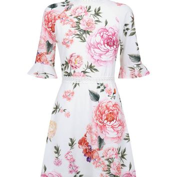 Parisian White Floral Lace Trim Tea Dress | New Look