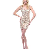 Gold Sequined Starlet Prom Dress - Unique Vintage - Prom dresses, retro dresses, retro swimsuits.