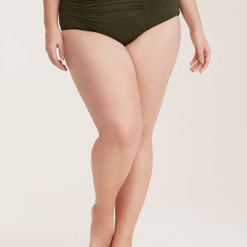 Ruched High Waist Swim Bottom