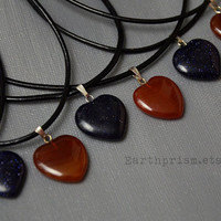 Heart Shaped Gemstone Pendant / Black Leather Choker Necklace / Carnelian / Blue Sandstone / Goldstone / Heart Necklace / Heart Choker