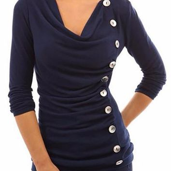 Plain Buttons Embellished Ruffle Long Sleeve Cowl Neck Shirt