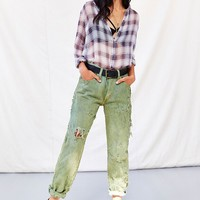 Totally Blown Destroyed Green Jean - Urban Outfitters