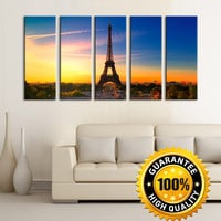 Canvas Art Print Paris Eiffel Tower at Sunset, Prints For Wall, 5 Panels Framed Ready to Hang, Eiffel Prints On Canvas, 100% Quality Prints