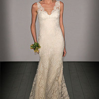 v neck lace wedding dresses : simplewedding