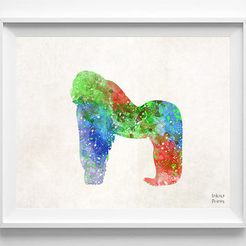 Gorilla Watercolor, Animal Print, Painting, Africa Poster, Nursery, Baby Room ,Illustration Art, Watercolour, Wall, Home Decor [NO 394]