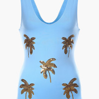 Gold Sequin Palm Tree Swimsuit