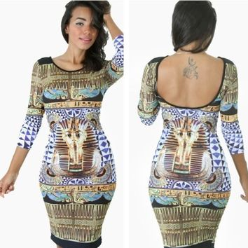 Women Summer Dress Vintage Egypt Pharaohs Floral Printed Sexy Club Bandage Dress Bodycon