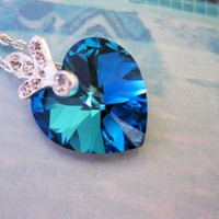 Bermuda Blue Heart Necklace 18mm CZ Sterling Silver