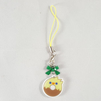 Chocobo, final fantasy, donut, food, dessert, phone charm, cute, kawaii, anime, zipper charm, keychain, acrylic charm, yellow
