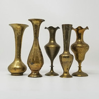 Vintage Brass Bud Vases India Brass Set of Five 7 to 8 Inch Vases